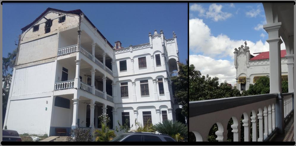 La edificación posee una arquitectura tradicional, con techo de tejas rojas y corredores de mosaicos de la época