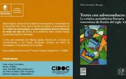 María Josefina Barajas presenta investigaciones sobre crónica venezolana en Chile