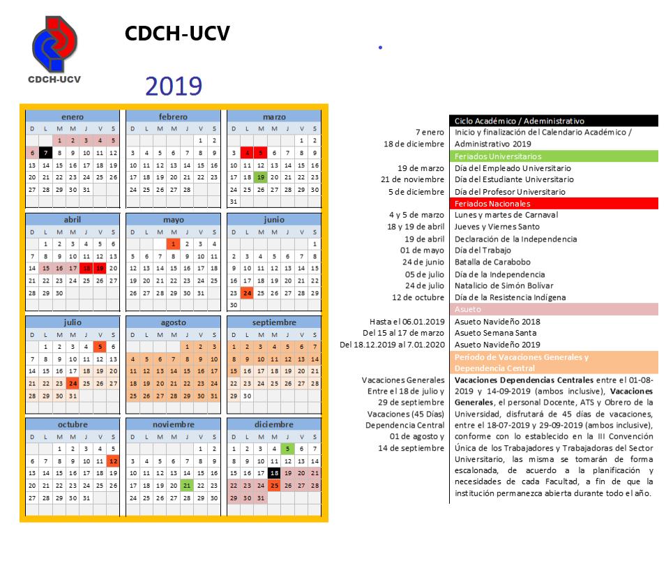 Calendario CDCH-UCV 2019