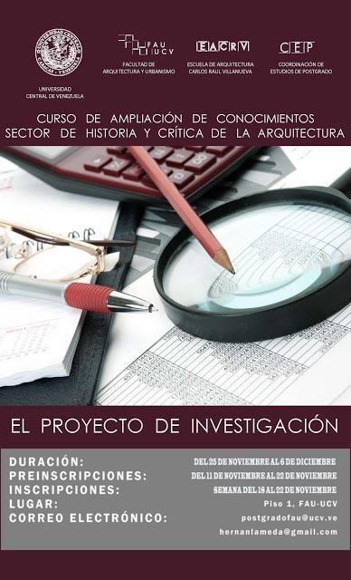 """CURSOS DE AMPLIACIÓN """"El Proyecto de Investigación"""" y """"Taller de Análisis Arquitectónico"""""""