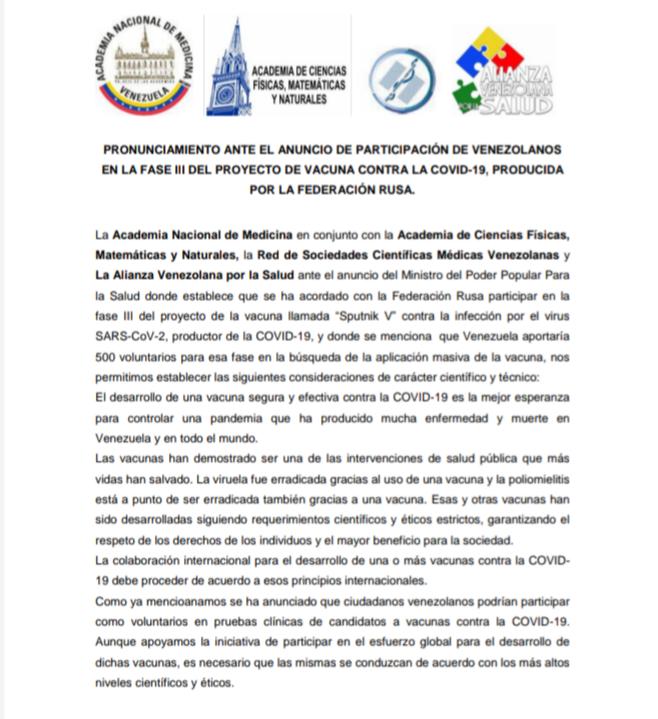 Pronunciamiento de las Academias sobre la Aplicación de la Vacuna Rusa contra el COVID-19